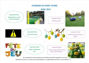 planning point jeunes avril 2014