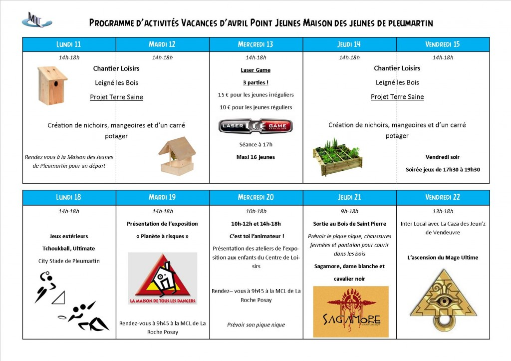 planning vacances avril